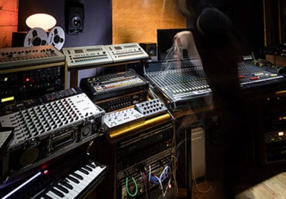 Several synthesizers in a studio